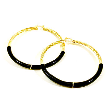 "Rope Like 3"" Enamel Simulated 18Kts Gold Plated Hoop Earrings"