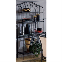 Contemporary Black Metal Bakers Rack with 4 Storage Shelves
