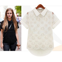 Pretty Doll Collar Lace Irregular Pierced Chiffon Shirt