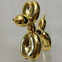 Balloon Dog Figurine Statue Home Decor - Miniature Size - Gold Metallic Finished