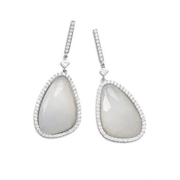Abstract Irridescent White Jade and CZ Edge Earrings