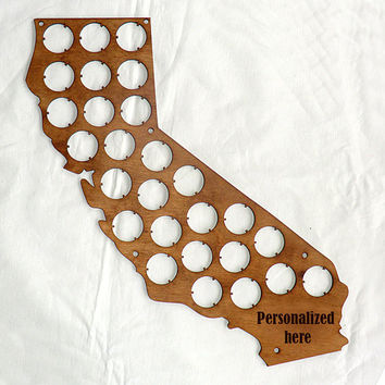 California Beer Cap Map Beer Cap Display Custom Personalized Engraving Father's day Gifts for Dad Valentines gifts for him Gifts for men