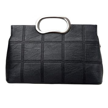Women's Leather Handbag with Silver Handles