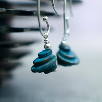 Patina Earrings, Small Dangle Style, Understated Jewelry, Industrial Zen, Raw Aged Brass Blue Verdigris Architectural Appeal Layered Circles