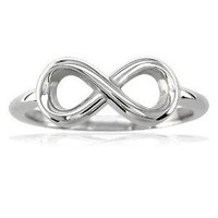 Small Flowing Infinity Ring in Sterling Silver size 7