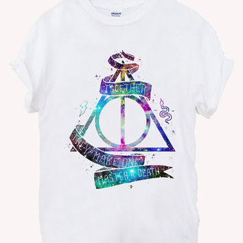 galaxy deathly hallows Screenprint 100% soft cotton t-shirt For girl and men Unisex
