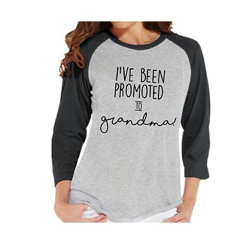 Pregnancy Announcement - Promoted to Grandma Shirt - Grey Raglan Shirt - Pregnancy Reveal Idea - Surprise New Grandparents - Grandma