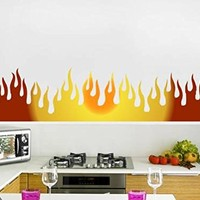 "Kitchen Stickers Flames Wall Decals Murals Full Color Sticker Colorful Flame Vinyl Decal Stickers Kitchen Home Art Decor Ideas Cafe NS2048 (10"" Tall x 38"" Wide)"
