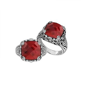"AR-6227-RB-6"" Sterling Silver Ring With Ruby"