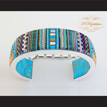 P Middleton Cobblestone Micro Inlay Cuff Bracelet Sterling Silver .925 with Semi-Precious Stones