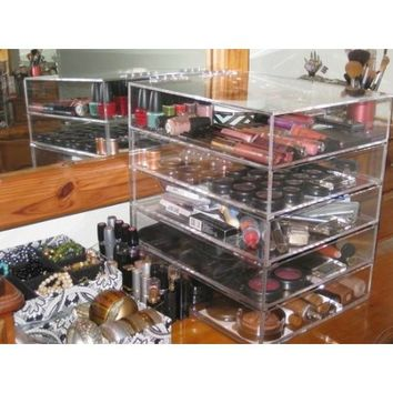Clear Acrylic Cosmetic & Makeup Organizer with 4 Drawers & Flip Top