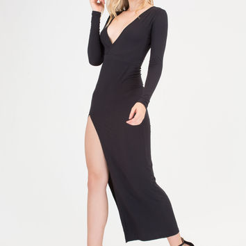 Chic Idea Plunging Slit Maxi Dress GoJane.com