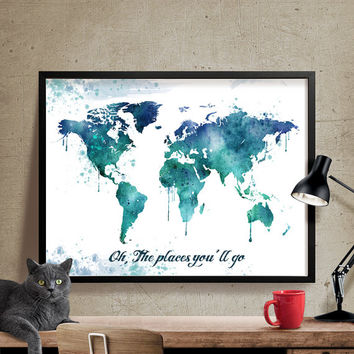 Watercolor Map Art, World Map Poster, Large World Map, World Map Art, World Map Print, Art Print, Watercolor painting,Watercolor Art  (223)