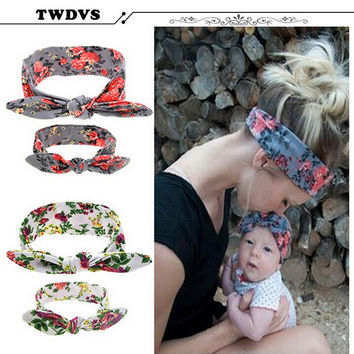 TWDVS Cute Baby and Mother Paternity Style pointing Knot Headband Beautiful and Comfortable DIY Can Adjust Hair Accessories W215