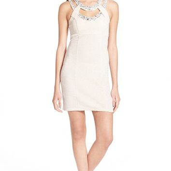 Junior Women's Trixxi Embellished Cage Neck Body-Con Dress,