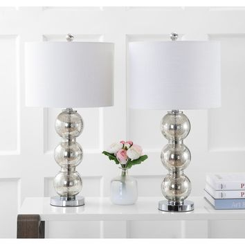 "Bella 27"" Glass Triple-Sphere LED Table Lamp, Mercury Silver/Chrome (Set of 2) by JONATHAN Y 