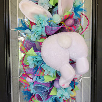 Easter Door Swag, Easter Wreaths, Easter Bunny Door Hanger, Easter Decoration, Spring Wreaths, Double Door Wreaths