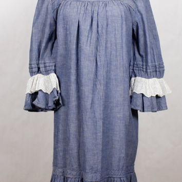 Vintage 70s Peasant Sleeve Prairie Dress Long Blue Denim White Eyelet Tiered Ruffle Wood Buttons 1970s Style Womens sz S M