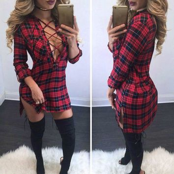 Autumn Plaid Explosions Leisure Vintage Shirt Dress