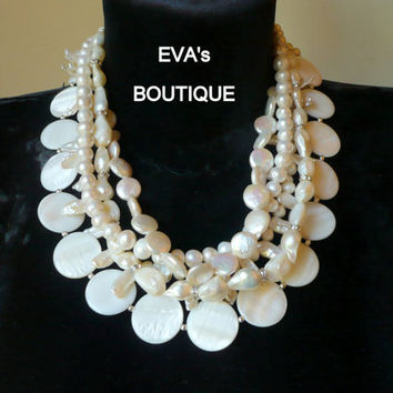 Rich large bridal 5 strand statement necklace with white pearls and high quality round shells, Swarovski crystal spacers, modern fashion