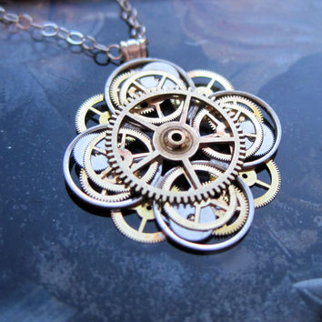 grande rose compass products clockwork design necklace mixed jewelry echo bronze metal