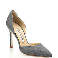 Manolo Blahnik - Tayler Denim D'Orsay Pumps - Saks Fifth Avenue Mobile