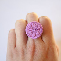 Purple Oreo Cookie Ring- With Vintage band.