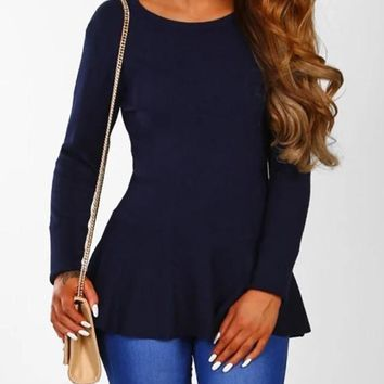 New Navy Blue Bow Cut Out Round Neck Long Sleeve Fashion T-Shirt