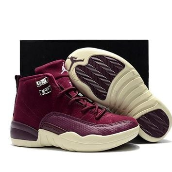 Kids Christmas Air Jordan 12 Bordeaux White - Beauty Ticks