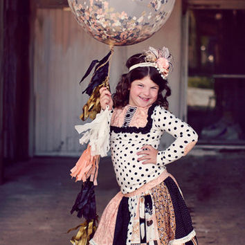 "Giant Confetti Filled Balloon with Tassel Custom Colors 36"" Balloon with 6 Foot Fringe Navy, Peach, Antique Gold"