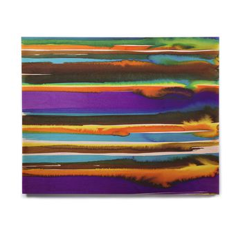 "Miranda Mol ""Multicolor Sunset"" Purple Gold Abstract Stripes Watercolor Painting Birchwood Wall Art"