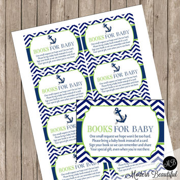 """Book Request Insert Card """"Book instead of a Card"""" - Lime and Navy Nautical Anchor Chevron Baby Shower Insert Card - Nautical2 INSTANT"""