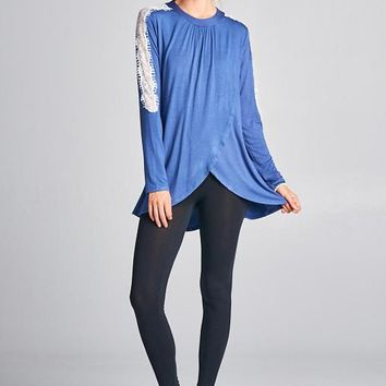 Loose Fit Long Sleeve Lace Top