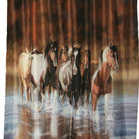 "Running Horses ""Rush Hour"" Shower Curtain"