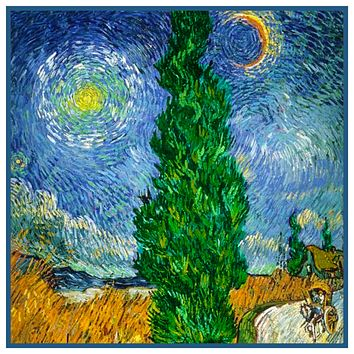 Cypress Road Moon Stars Detail by Vincent Van Gogh Counted Cross Stitch or Counted Needlepoint Pattern
