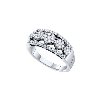 14kt White Gold Womens Round Diamond Flower Cluster Cocktail Band Ring 1/2 Cttw 39820