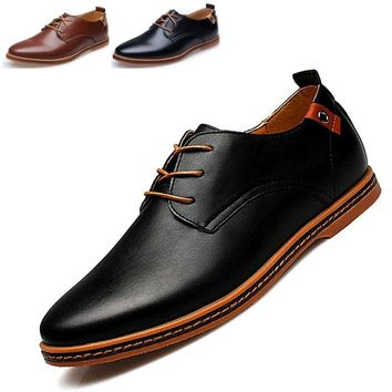 Big Size Men's Chain Casual Leather Business Shoes(Black,Brown)