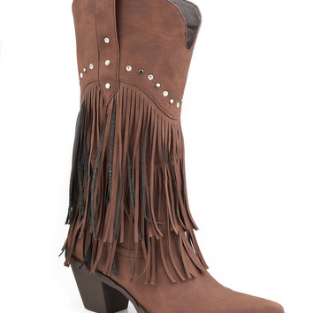 Roper Ladies Fashion Western Faux Leather Boots 12 Brown Fringe Boot With Stud Design