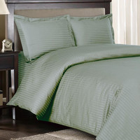 Stripe Sage-Green Down Alternative bed in a Bag 100% Egyptian cotton 600 Thread count