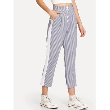 Contrast Panel Striped Pants