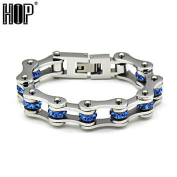 HIP Brand Punk Rock Blue Color Men's Motor Bike Chain Motorcycle Chain Bracelet Bangle 316L Stainless Steel Jewelry