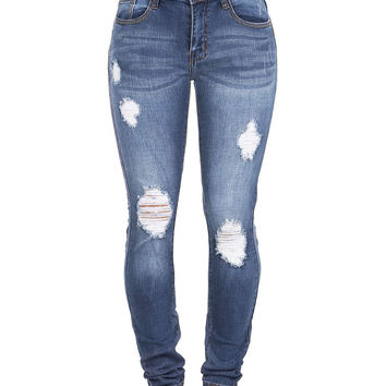Faded Torn Mid-Rise Jeans