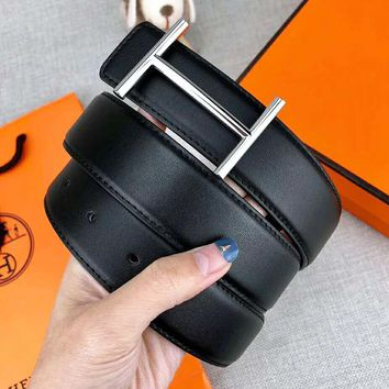 Hermes New fashion H letter buckle couple belt width 3.4 CM Black