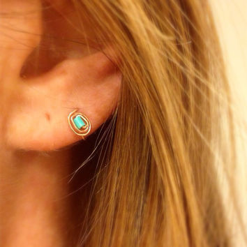 Turquoise Earrings in gold silver or rose gold pair by bijoufish