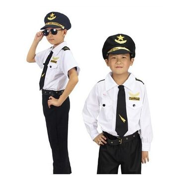 High Quality Free Shipping Game Show Chinese Handsome Pilot Costume Children Halloween Police Uniform for Holiday Carnival Party