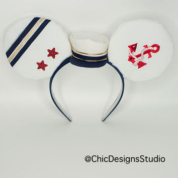 Sailor Mickey Inspired Ears Headband, Minnie Ears, Mickey Ears, Embellished Mickey Ears, Disney Cruise Ears