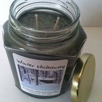 Handmade WINTER HIDEAWAY scented 12 oz. Soy Candle, Wholesale Bulk Discount Pricing available for Wedding & Baby Shower Favors