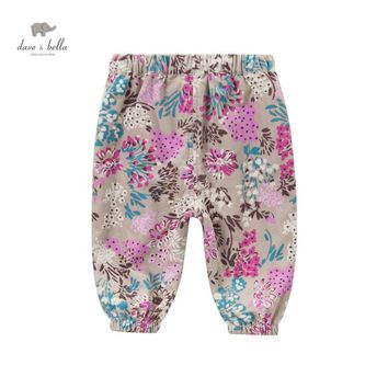 DB3671  DAVE BELLA girls corduroy floral pants thick trousers
