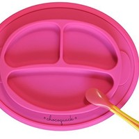 Non-slip Suction Placemat Combo. Includes Monkey Silicone Placemat and Pink Spoon for Baby, Toddler & Kids. Ideal for Highchair Feeding, Kitchen Dining Table and Outdoors.