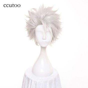 DCCKWJ7 ccutoo Men's Short Silver White Layered Fluffy Synthetic Cosplay Hair Wigs Heat Resistance Fiber Slicked Back Styled